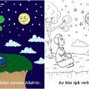 Ayı ve Yıldızları Yaratan Allah'tır (Okul Öncesi Boyama Etkinliği)